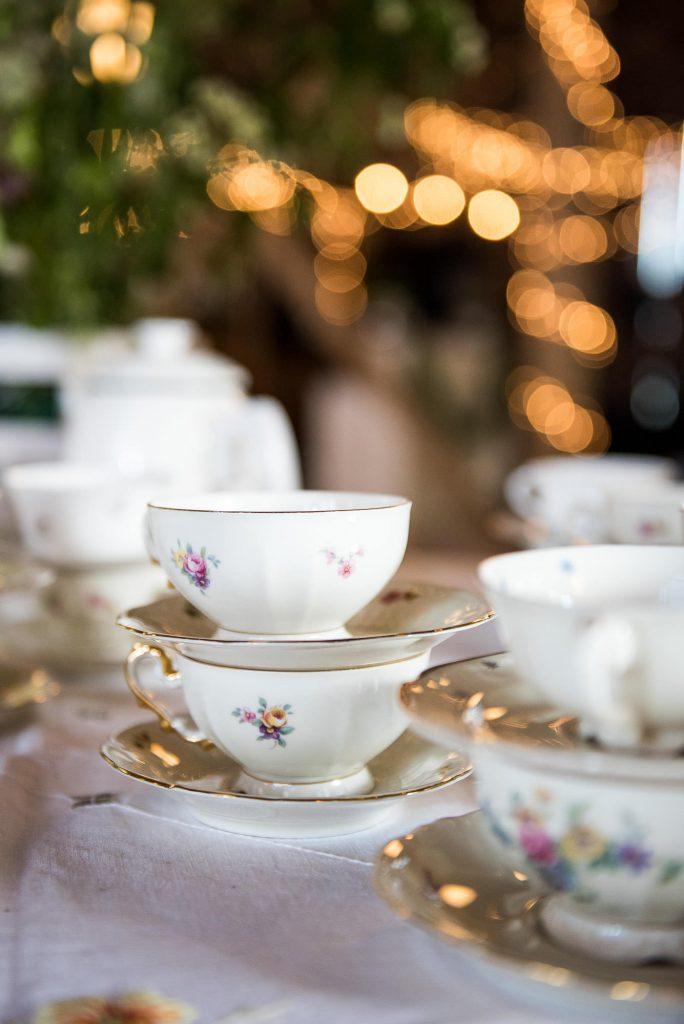 Swedish Wedding - Kroksta Gard Wedding - Rustic Barn Wedding Breakfast Tea Cups