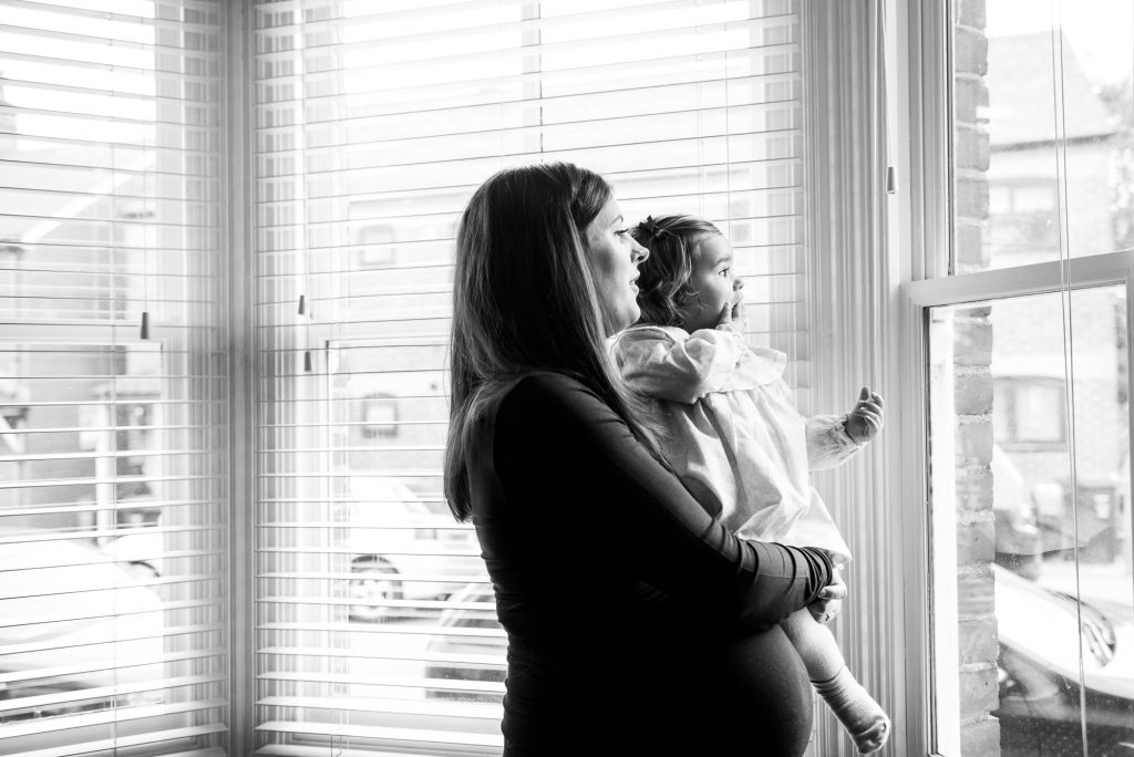 Surrey Family Photography, Black and White Candid Photograph of Mother and Daughter