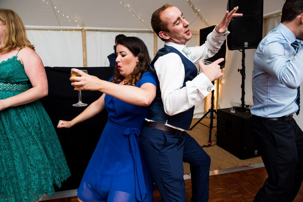Surrey Wedding Photography, Wedding Guests Dancing Lively and Energetic Dance Floor Photography