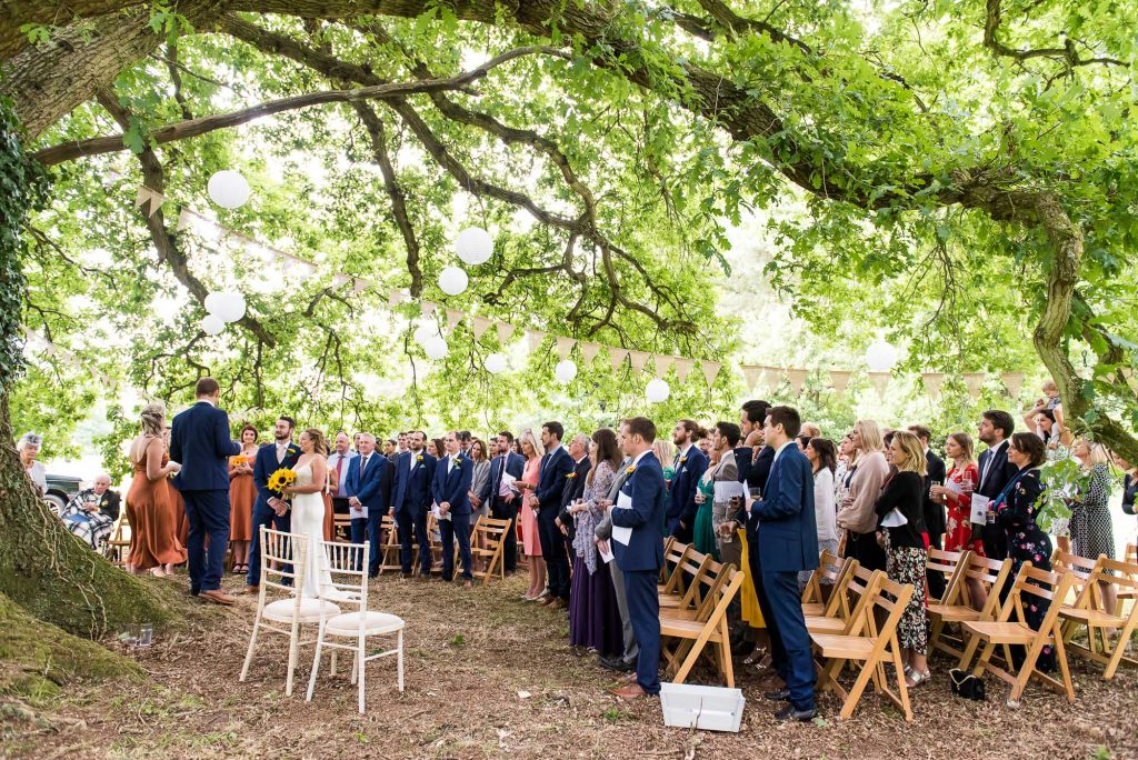 Outdoor Wedding Ceremony, Surrey Wedding Photography, Beautiful Outdoor Wedding Under A Tree