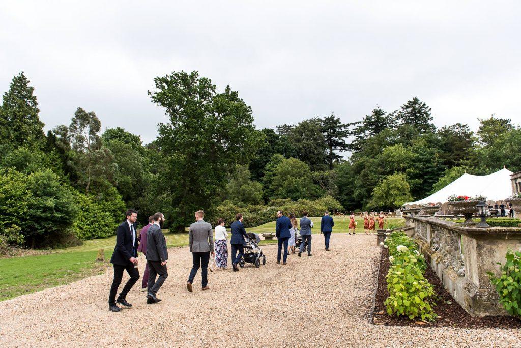 Outdoor Wedding Ceremony, Surrey Wedding Photography, Guests Walk To Reception