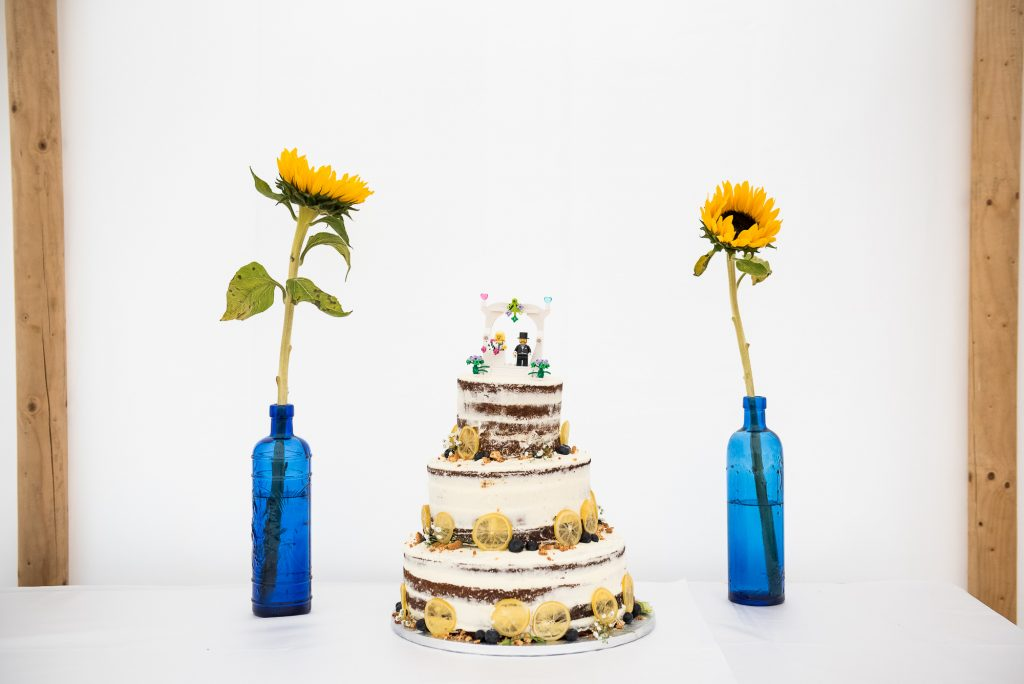 Outdoor Wedding Ceremony, Surrey Wedding Photography, Home Made Three Tier Wedding Cake with Lego Cake Toppers