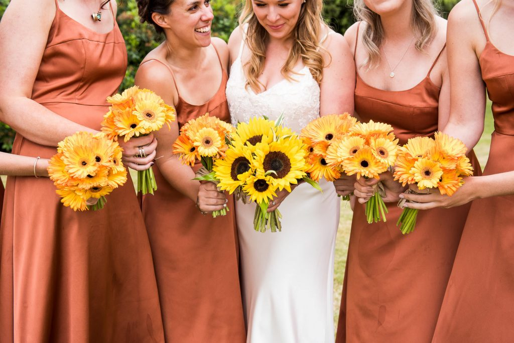 Outdoor Wedding Ceremony, Surrey Wedding Photography, Burnt Orange Bridesmaid Dresses with Sunflower Bouquets