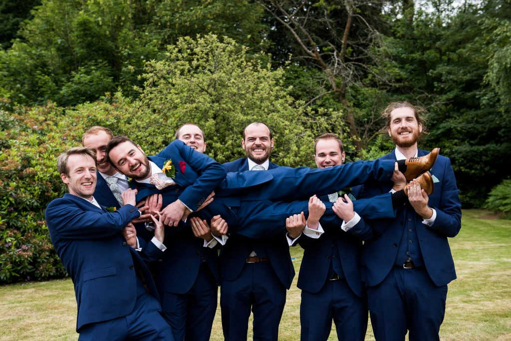 Navy Blue Three Piece Suits For Groom and His Groomsmen