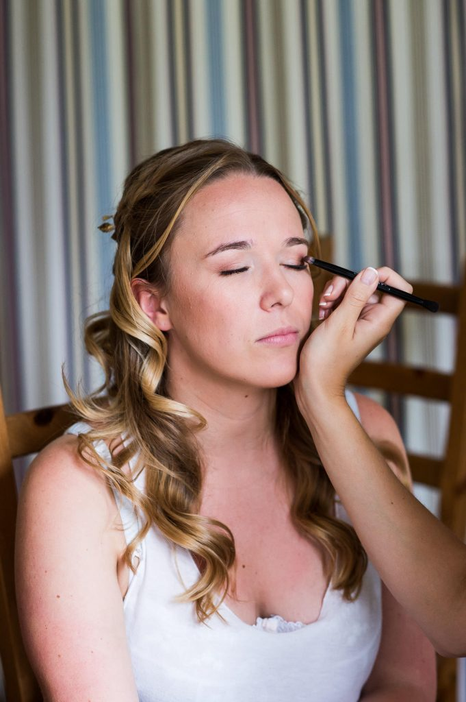 Outdoor Wedding Ceremony, Surrey Wedding Photography, Bride has her make up applied on the morning of her wedding