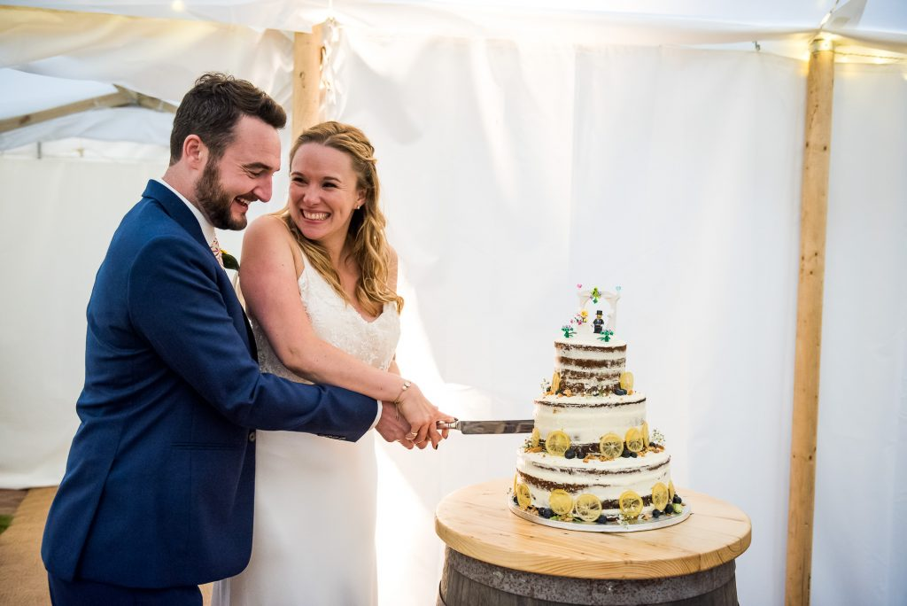 Gorgeous Catherine Deane Bride and Groom Cut The Home Made Wedding Cake