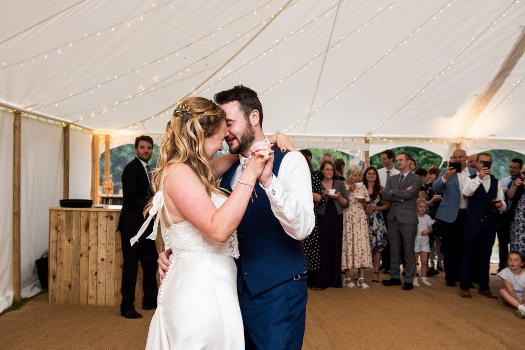 Outdoor Wedding Ceremony, Surrey Wedding Photography, Bride and Groom Share an Energetic and Lively First Dance