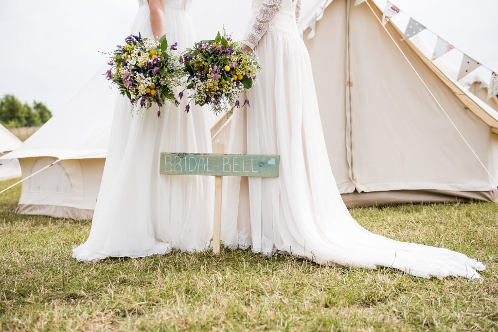 LGBT wedding photography, glamping wedding with bell tents