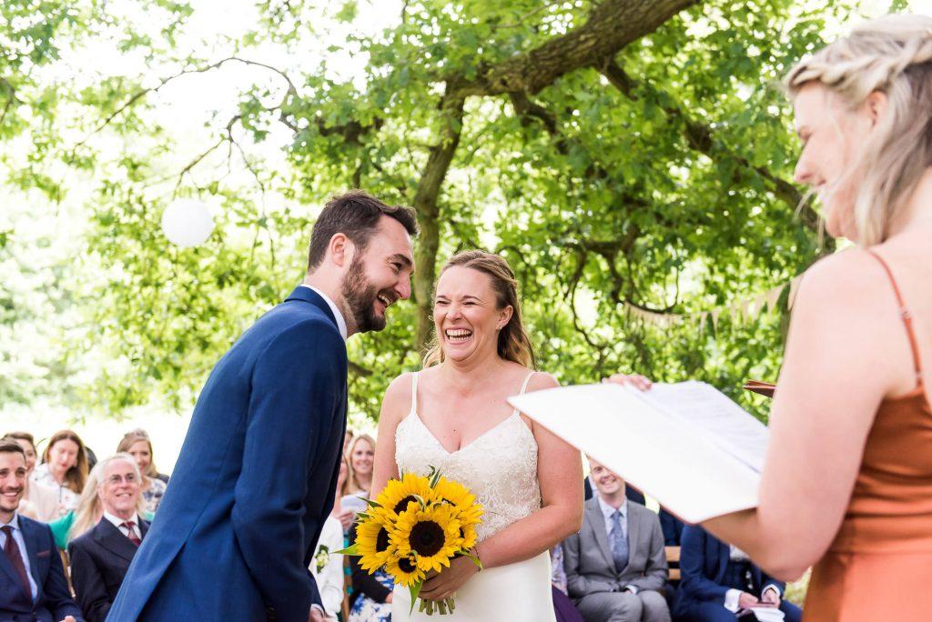 Alternative wedding photography - outdoor wedding ceremony in Surrey
