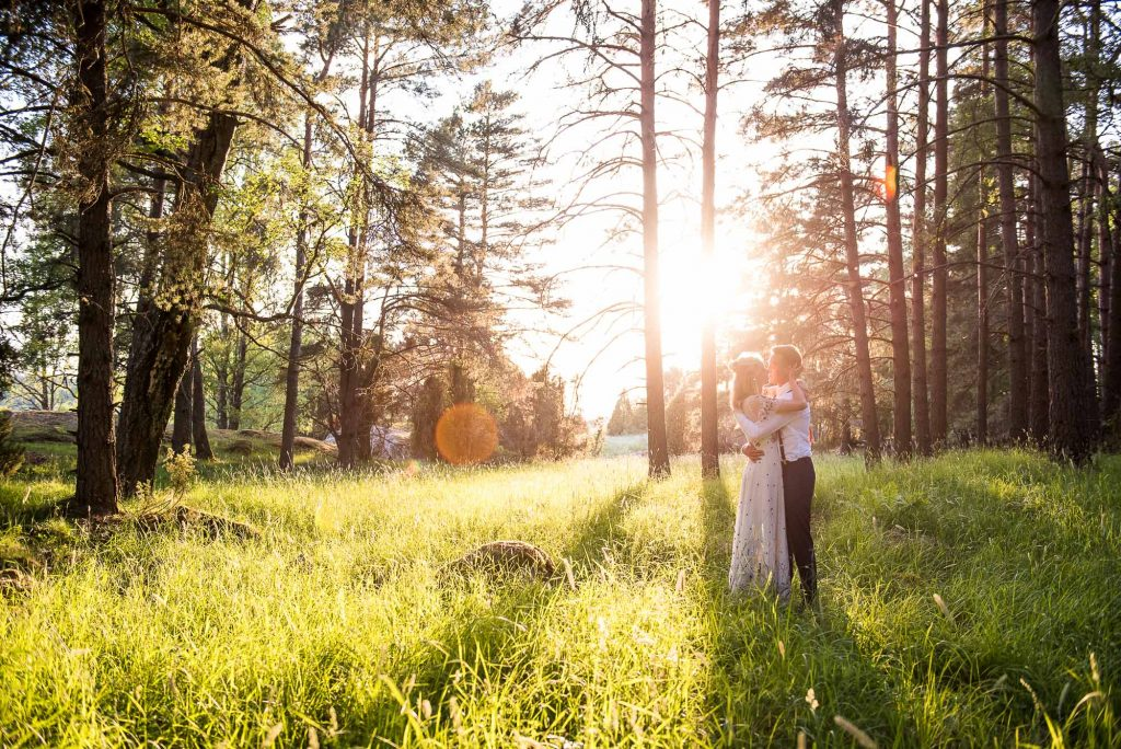 LGBT wedding photography, golden hour couples photography surrounded by Swedish woodland