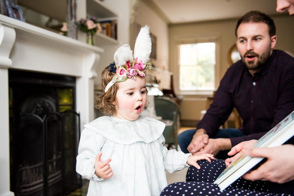 LGBT wedding photography, family photography shoot with gorgeous little girl in bunny ears