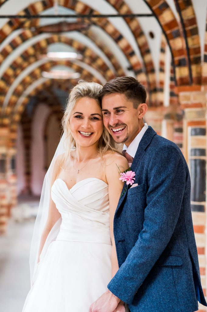 natural wedding portrait of couple together at Horsley Towers
