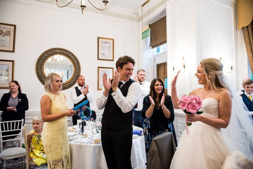 Horsley Towers wedding, bride arrives into the wedding breakfast room