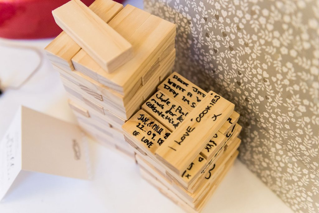 guests signed jenga pieces