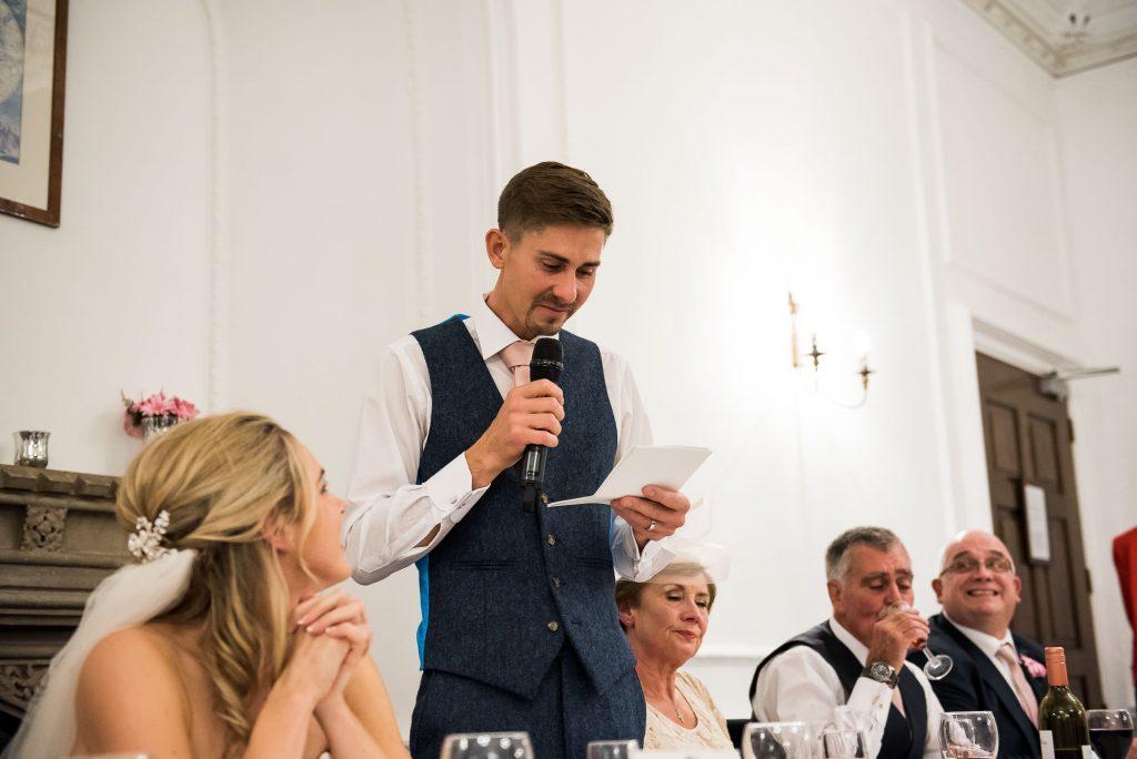 groom gives an emotional speech