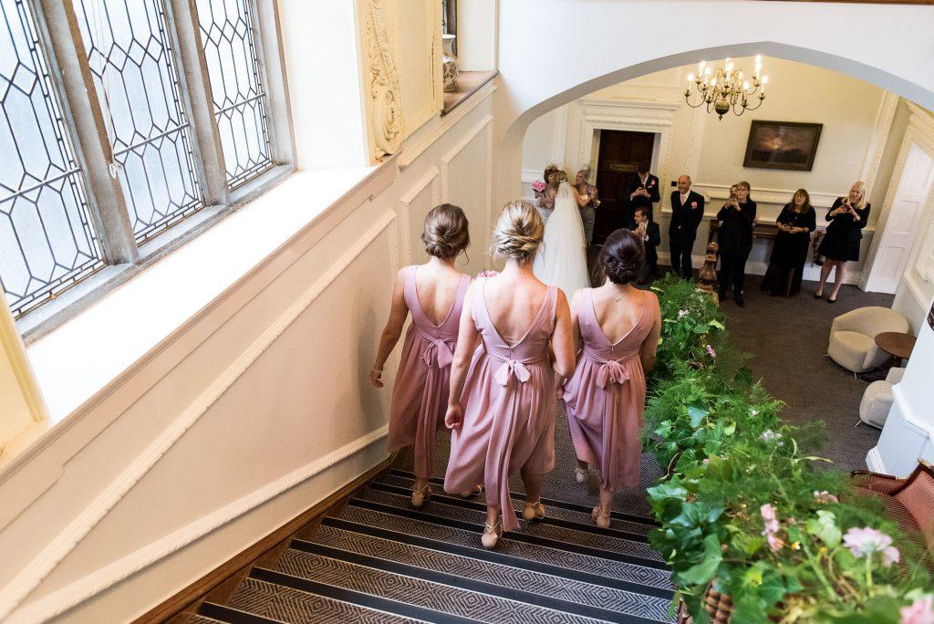 st martha's wedding, bridesmaids in matching pink dresses
