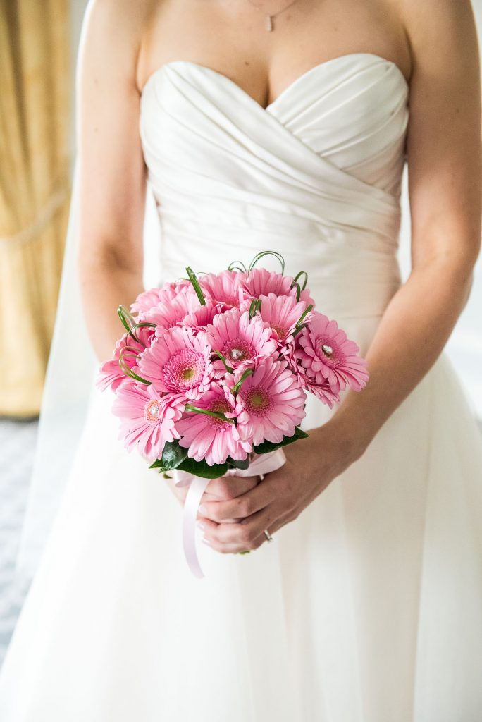 st martha's wedding, wedding bouquet of pink flowers