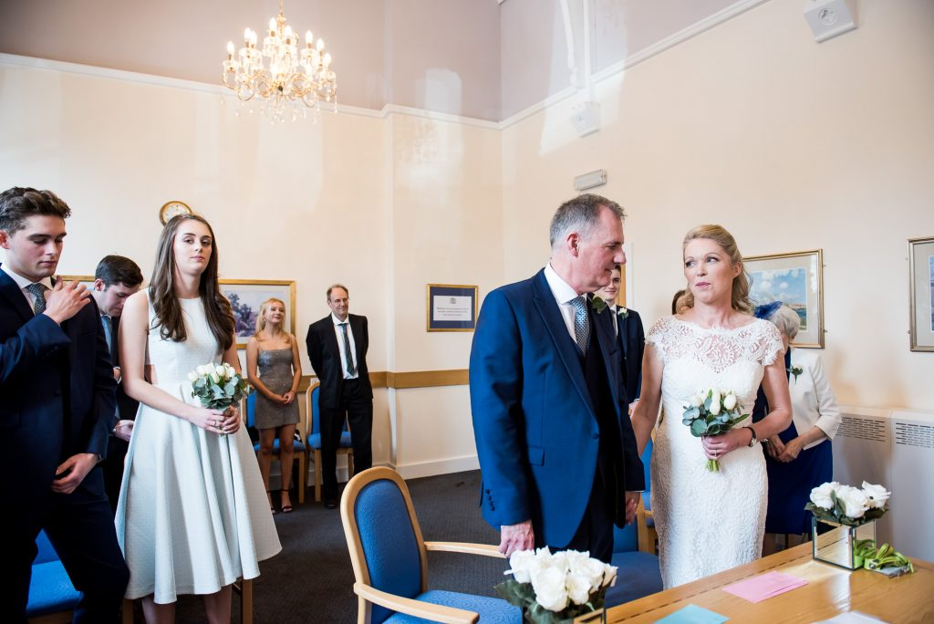 Buckinghamshire wedding photography, Marlow registry office wedding, bride and groom enter with their children