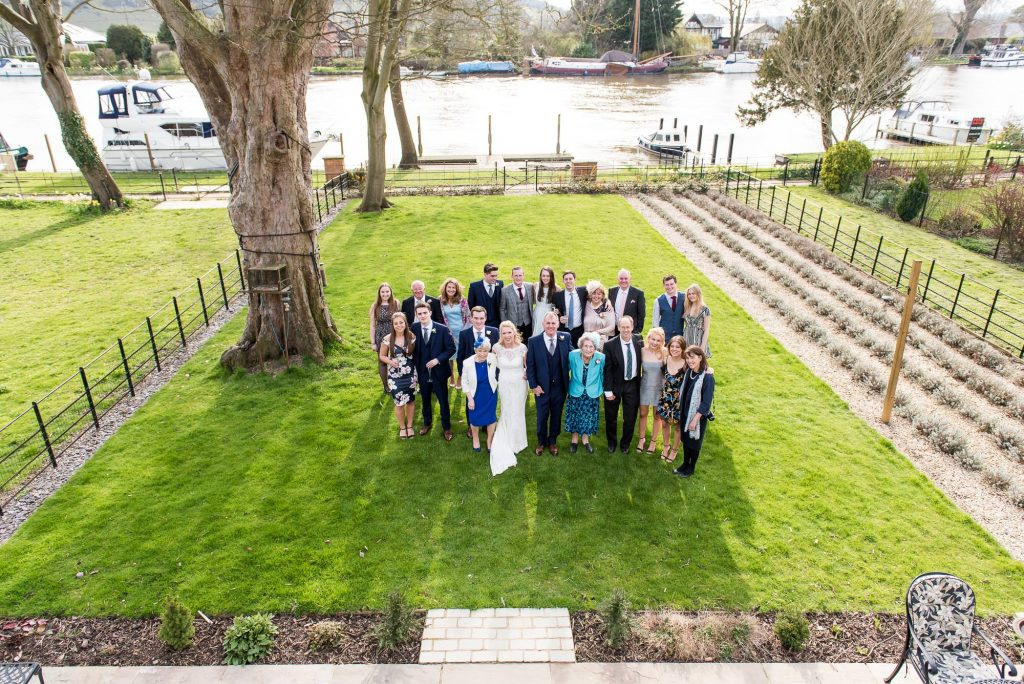 relaxed wedding group photography from above