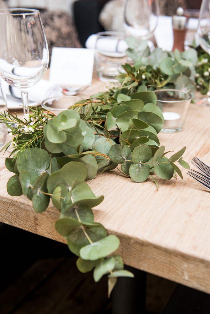 Green botanical table runners for Buckinghamshire wedding photography
