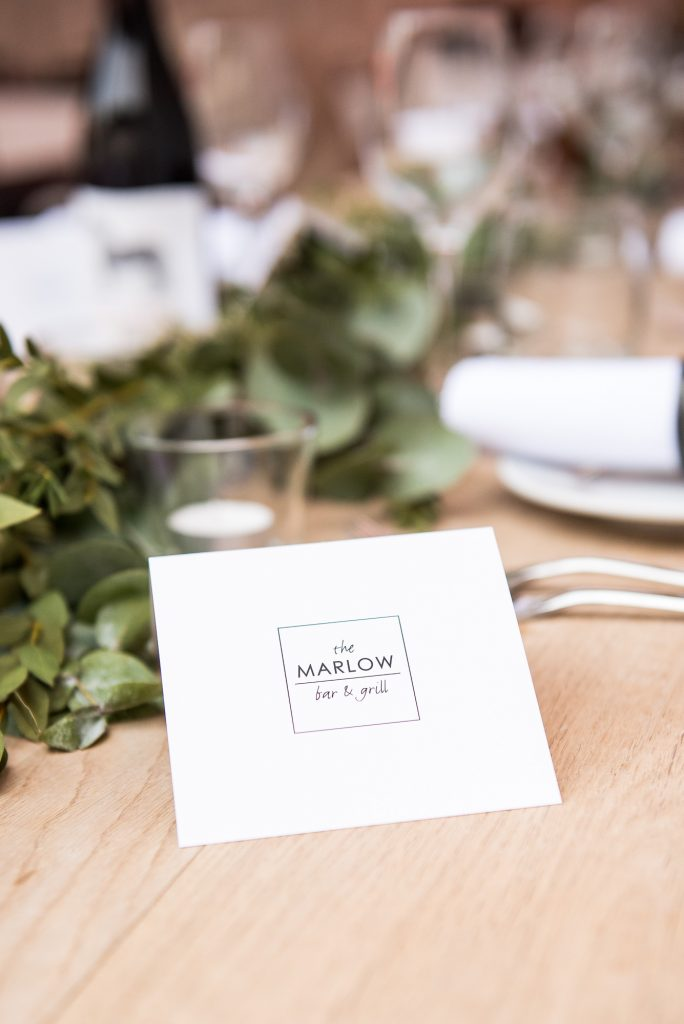Marlow Bar and Grill table setting name, Buckinghamshire wedding photography