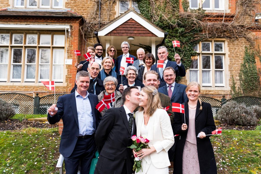 Natural and candid group photography for intimate surrey wedding