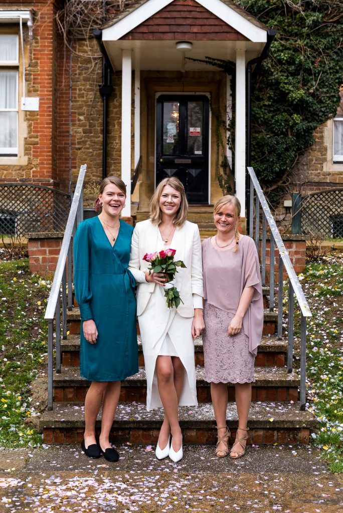 Bride with her closest friends at Artington House wedding