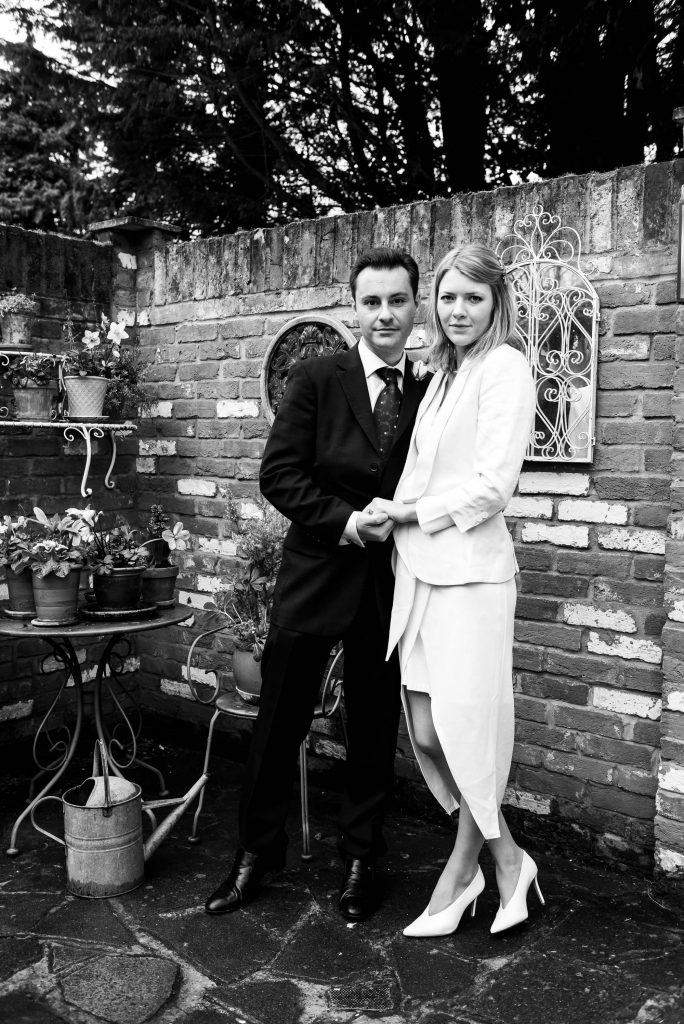 Black and white portrait of newly married couple