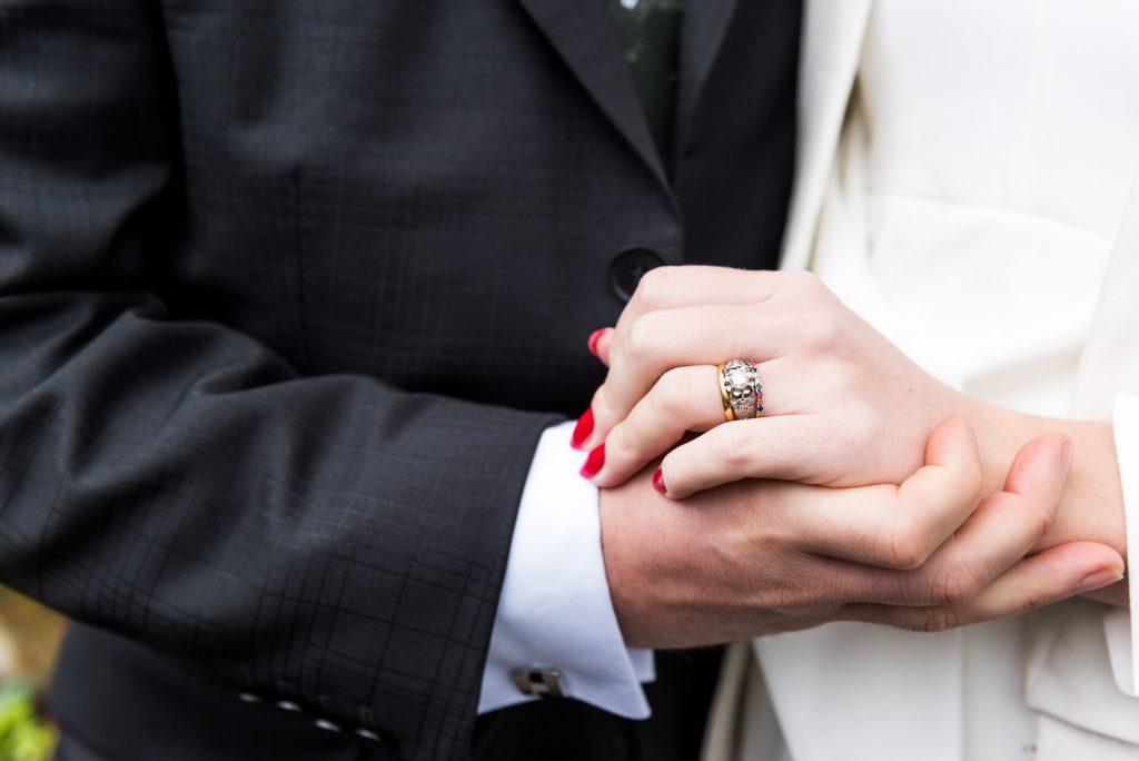 Gorgeous wedding ring of rainbow jewels