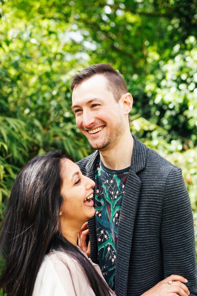 Handsome man smiling, London engagement photography