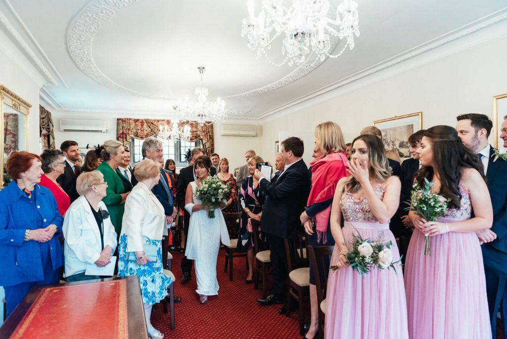 Arrival of the bride and groom at Weybridge Registry Office ceremony