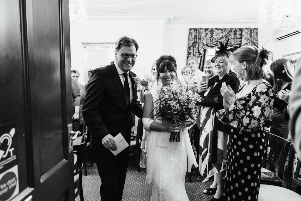 Couple exit the ceremony