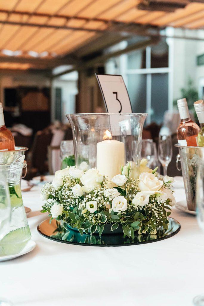 Fresh and clean wedding arrangements for Oatlands Park Wedding