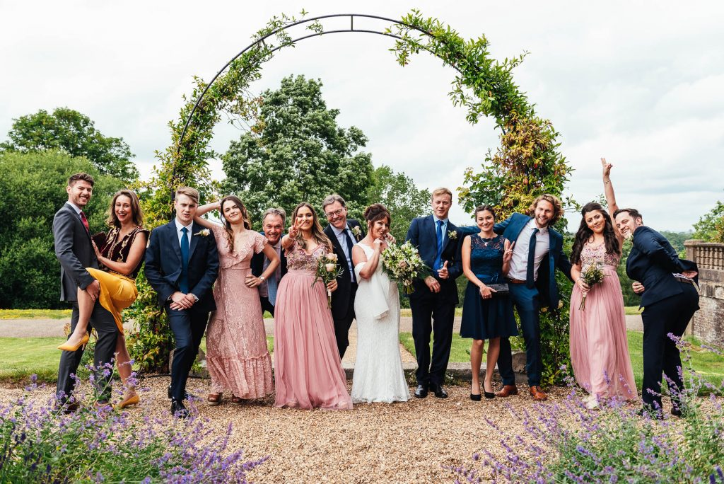 Fun wedding group photography