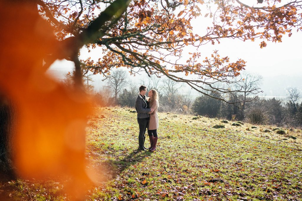 Golden light engagement shoot Surrey