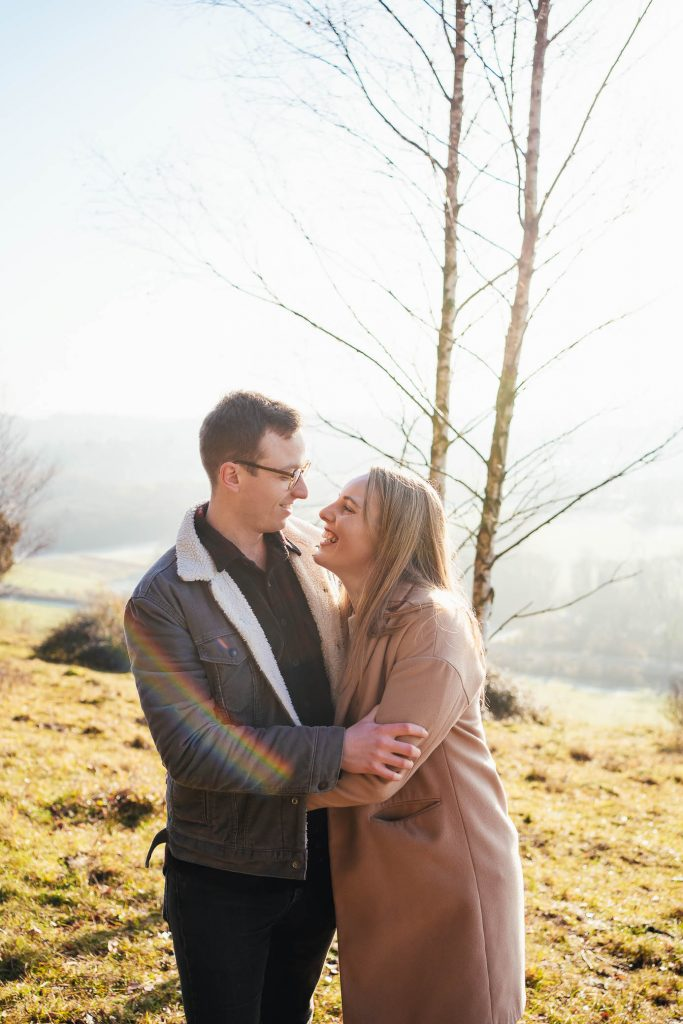 Candid and cute engagement photography portrait