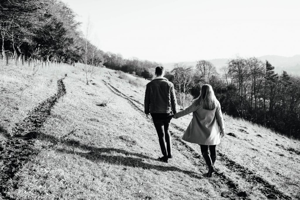 Black and white candid engagement photography