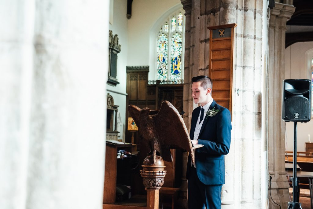 Wedding reading at St Mary The Virgin church, London