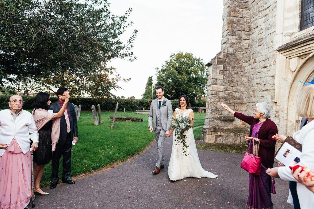 Candid confetti wedding photography