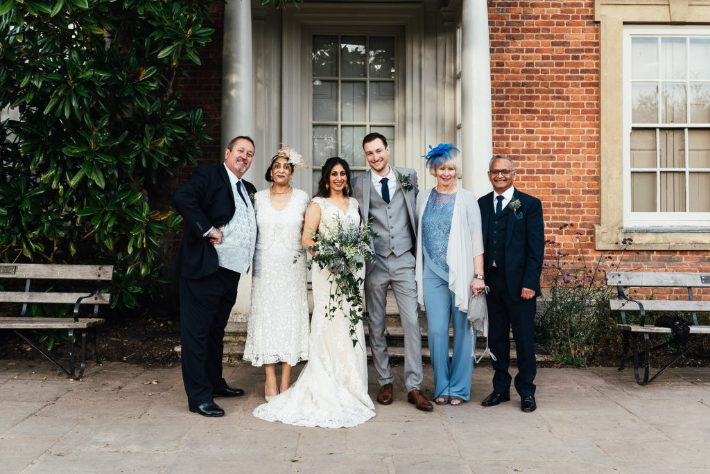 Relaxed family portraits for Forty Hall wedding