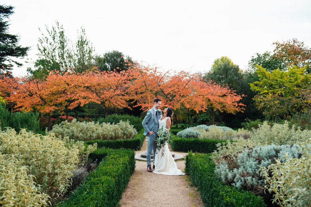 Creative couples portrait at Forty Hall wedding