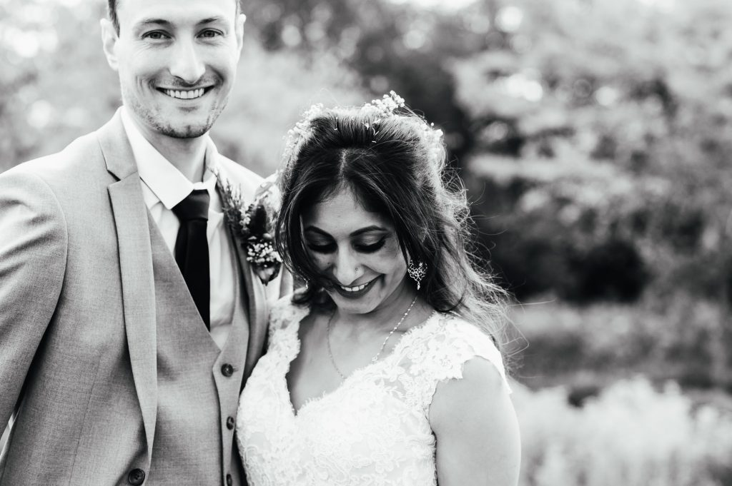 Black and white candid wedding portrait