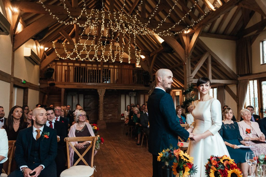 Cain Manor wedding ceremony decorated with fairy lights