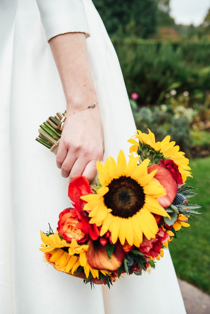 Gorgeous sunflower wedding bouquet arrangement