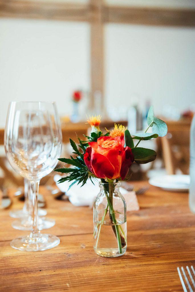 Petite vase with small floral arrangement
