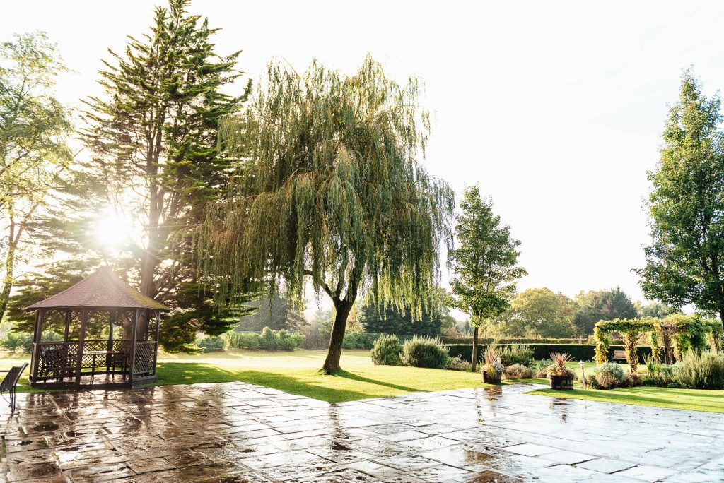 Cain Manor gardens after a rainfall with gorgeous sunlight