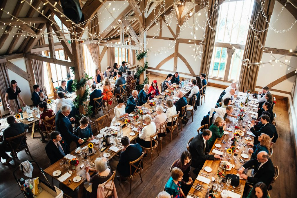 Guests for Cain Manor wedding dine