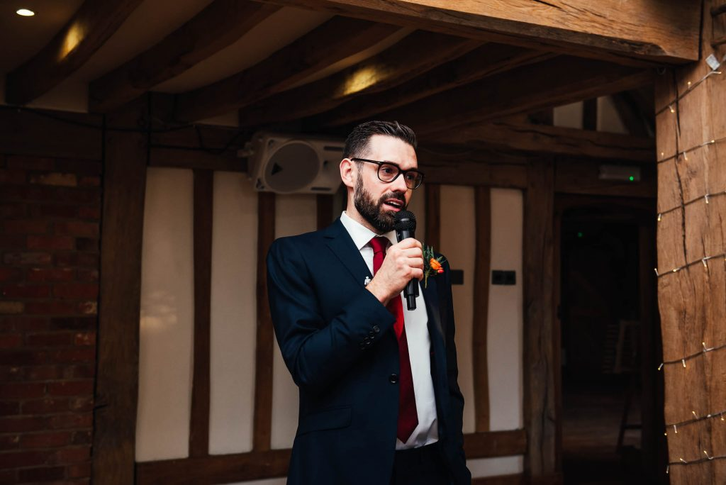 Brother of the bride gives a welcome speech