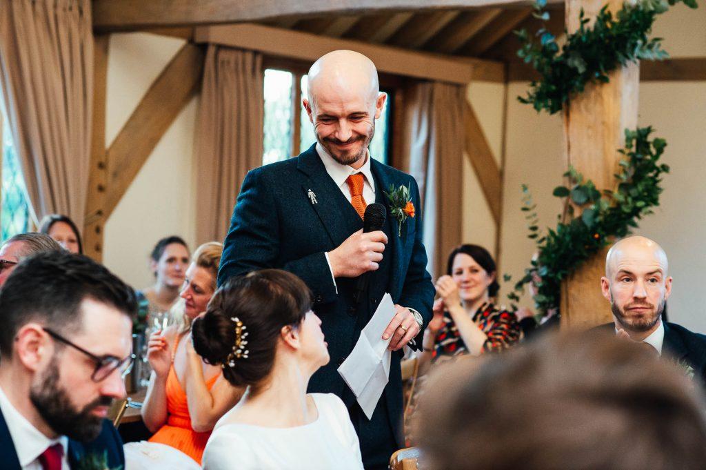 Groom gives a speech Cain Manor wedding