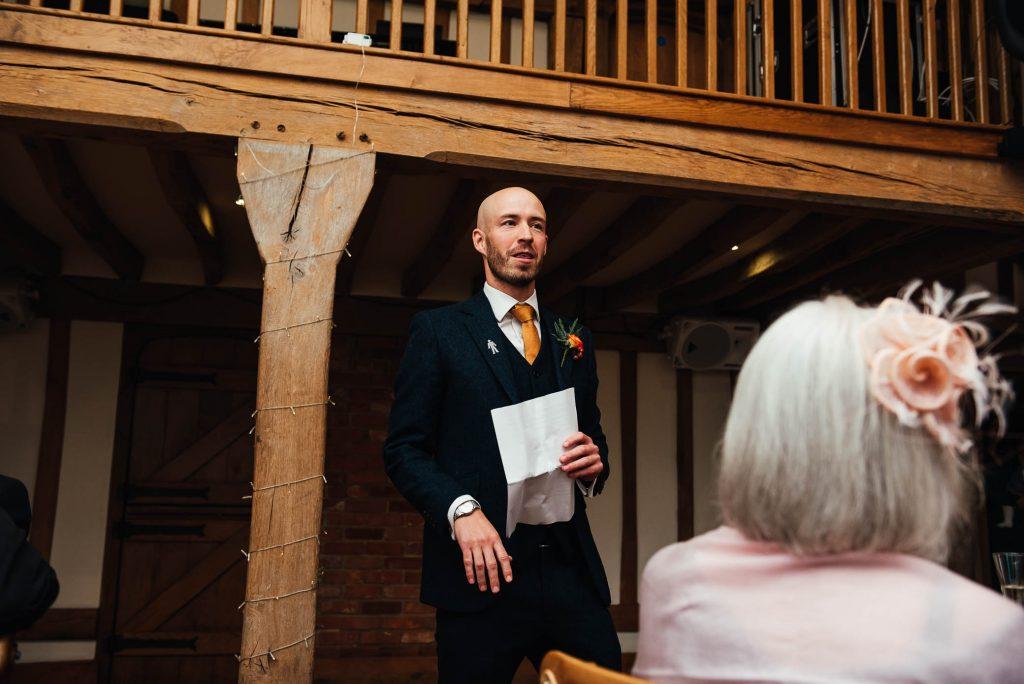 Best man gives a rousing speech